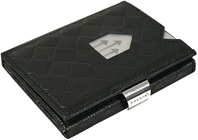 Stylish Sophisticated Compact EXENTRI WALLETS EX 033 Premium Leather with Stainless Locking Clip Exentri Trifold Wallet Structure