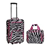 ROCKLAND Luggage 2-Piece Printed Luggage Set, Pinkzebra, One Size