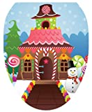 Toilet Tattoos TT-X617-O Christmas Candy House Decorative Applique For Toilet Lid, Elongated