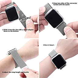 top4cus Double Electroplating Milanese Loop Stainless Steel Replacement iWatch Band with Magnetic Closure Clasp for Apple Watch - 38mm Regular Length - Silver