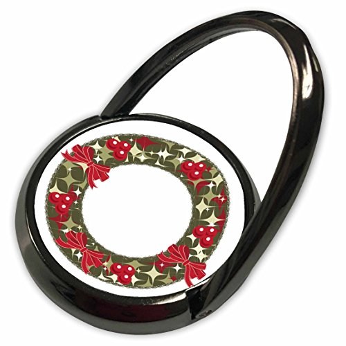 3dRose Anne Marie Baugh - Christmas - Red and Green Christmas Holly Berry Wreath and Bows Illustration - Phone Ring (phr_266708_1) - Christmas Wreath Holly Bow