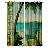 """lovely seaside patio decor ideas  Blackout Window Curtain Panels - 2 Panels Thermal Curtain Drapes Insulated Window Treatments for Bedroom Living Room Kitchen,Seaside Vacation Theme 52"""" x 72"""""""