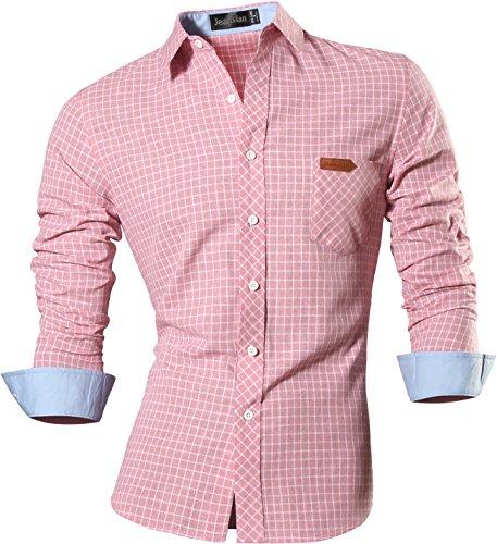 jeansian Men's Long Sleeves Slim Dress Shirt 8615 Pink M