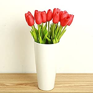 10PCS/LOT high quality PU Stunning Holland mini tulip flower real touch wedding flower artificial flowers silk plants for room home hotel party Event christmas gift decoration multi-color (red) 5