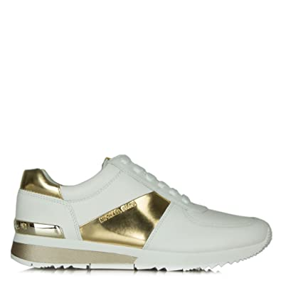 534da310689f Michael Kors Allie White Leather Gold Trim Lace Up Trainer 41 Gold Leather
