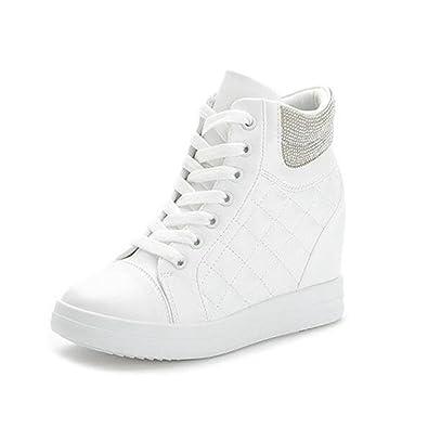 Womens Athletic High Top Zip Sneaker Hidden Heel Sports Shoes Zsell