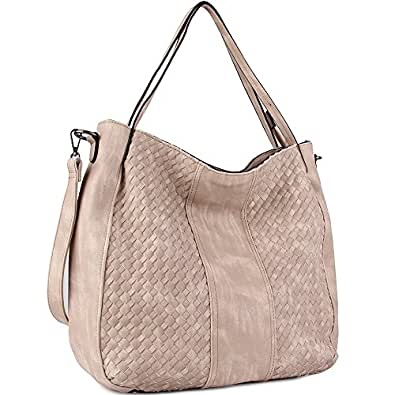 WISHESGEM Women Handbags Top-Handle Fashion Hobo Tote Bags PU Leather Shoulder Satchel Bags Apricot