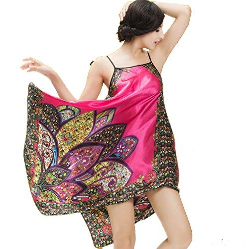 Paisley Pigiami Camicie Donna Notte Rose Esotico da BOYANN e Kimono Vestaglie Rosso e Boemia YvwPTIFq