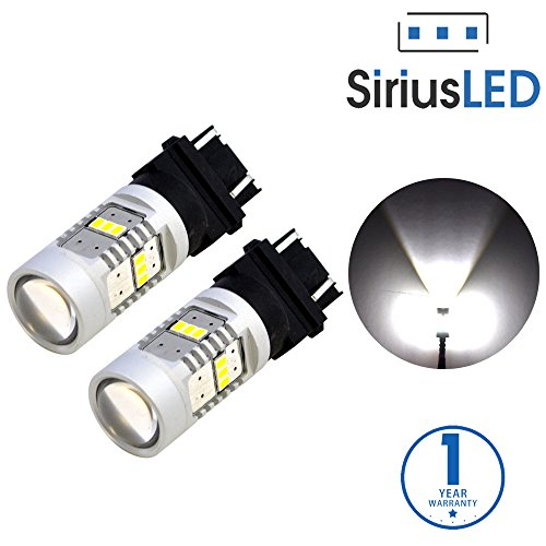 SiriusLED Extremely Bright 2835 Chipset Projection 1400 Lumen Dual Brightness LED Brake Tail Turn Signal Light Bulb Pure White Size 3157 3156 Pack of 2 (Cadillac Escalade Turn Signal)