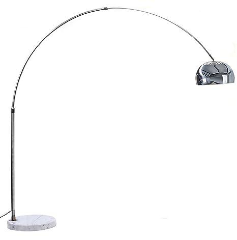 Lampada ad Arco in Alluminio con Base Rotonda in Marmo Bianco ...