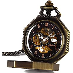 Smart.Deal Men's Magic Pocket Watch with Chain Bronze Octagon Case Steampunk Mechanical Golden Movement
