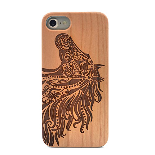 iPhone 8 Case/iPhone 7 Case, Natural Real Wood Carving Horse Head Pattern Slim Bumper Anti Scratch Durable Flexible Case For Apple iphone 7,iphone 8