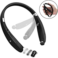 Bluetooth Headphones, Dostyle Wireless V4.1 Bluetooth Headset Neckband Foldable Sweatproof with Retractable Earbuds and Mic Compatible for Samsung, Nexus, HTC and All Cellphones (Black)