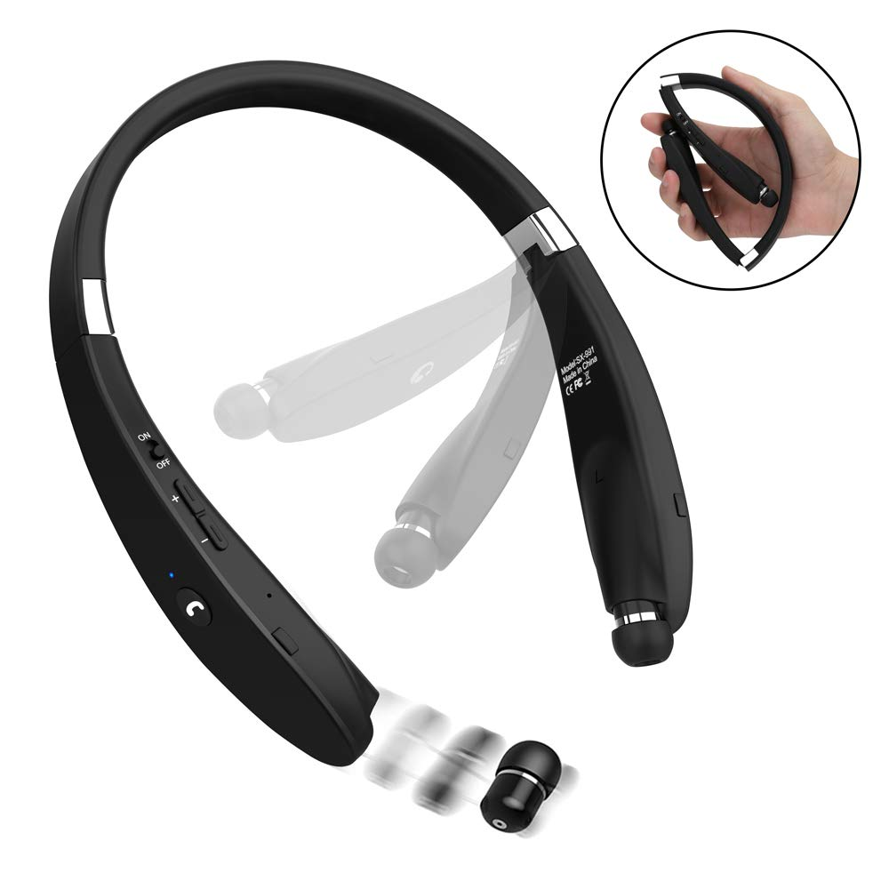Bluetooth Headphones, Dostyle V4.1 Bluetooth Headset Wireless Stereo Neckband Foldable Sport Earbuds with Mic and Retractable Earbuds for iPhone X 8 7 Plus Samsung Galaxy S7 S8 S9 and Android Phones