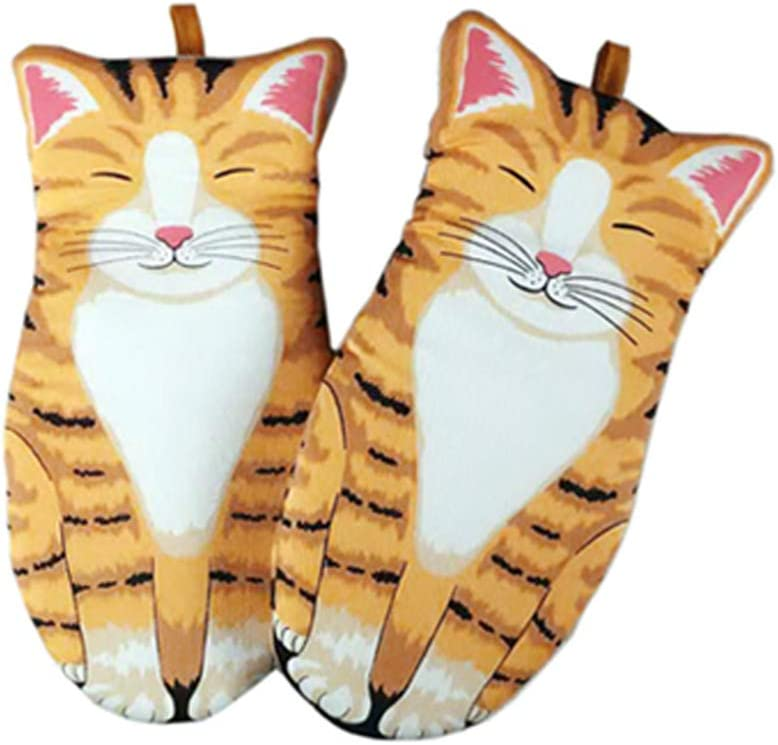 Oven Mitts Kitchen Cooking Baking Heat Resistant Cat Glove, 1 Pair Cat