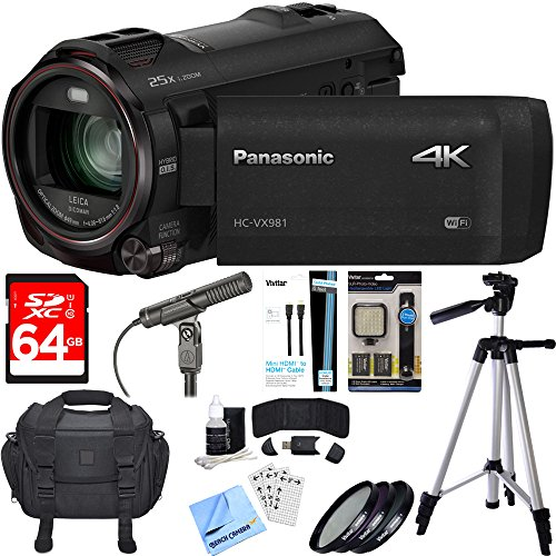 Panasonic HC-VX981K 4K Ultra HD Camcorder Black Essential Accessory Bundle includes Camcorder, Condenser Microphone, 64GB SDXC Memory Card, Bag, Tripod, 49mm Filter Kit, Beach Camera Cloth and More! by Beach Camera