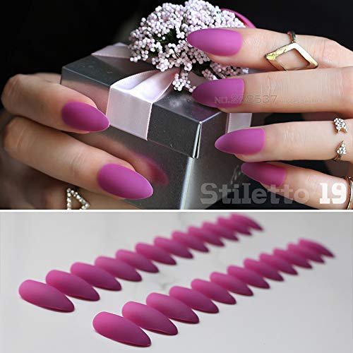 Amazon.com  24Pcs Brown Matte Stiletto Nails Pink Medium