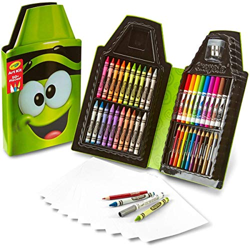 Crayola Tip 50 Piece Art Kit, Electric Lime Art Gift for Kids 5 & Up, Includes Crayons, Pip-Squeaks Markers, Colored Pencils, Paper Sheets & Dual-Purpose Sharpener In Crayola Tip Character Travel Case (Crayola Set Washable Art)