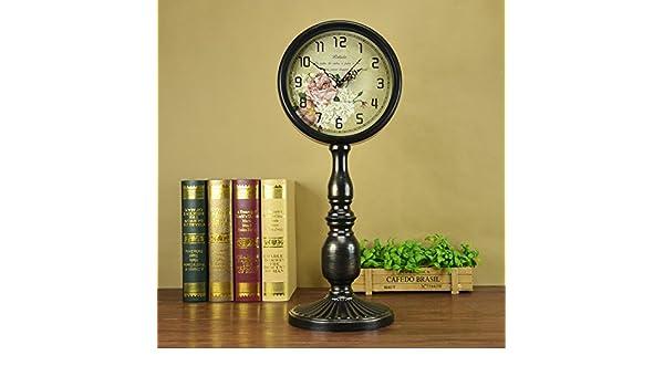 Aemember antiguos relojes antiguos Antique Salón en silencio el reloj reloj de sobremesa Reloj de sobremesa de metal Reloj retro tabla,FG602-2 negro: ...