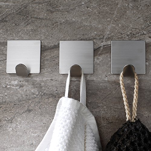 Adhesive Hooks,Heavy Duty 3M Hooks Stainless Steel Waterproof Wall Hooks for Robe Coat Towel Keys Bags-Home Kitchen Bathroom 4-pack Photo #4