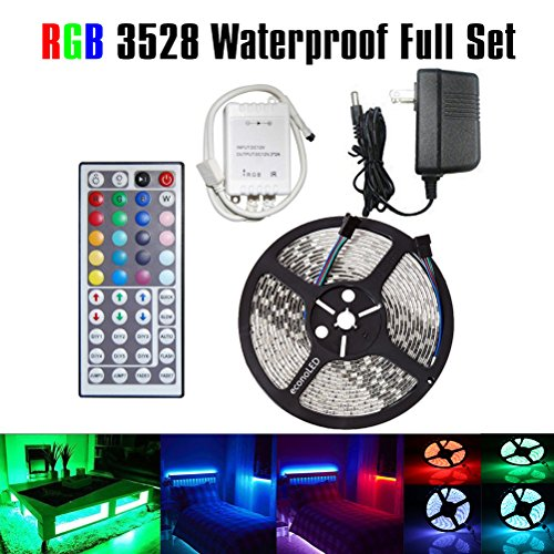 LED Flexible Strip Lights,Strip Lights,econoLED 16.4ft 300leds 5m Waterproof Adhesive Light Strips RGB Color Changing Smd 3528 ribbon Kit with 44key Remote with Power Supply