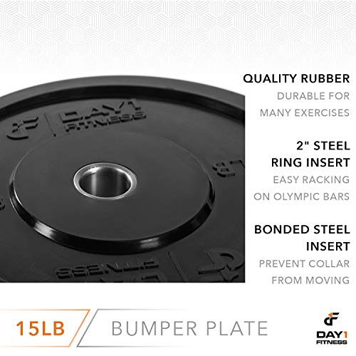 "Day 1 Fitness Olympic Bumper Weighted Plate 2"" for Barbells, Bars – 15 lb Single Plate - Shock-Absorbing, Minimal Bounce Steel Weights with Bumpers for Lifting, Strength Training, and Working Out by Day 1 Fitness (Image #4)"