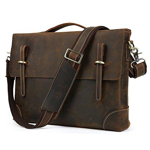 [Jonon Men's Vintage Thick Genuine Leather Shoulder Messenger Bag Fit 14 Inch Laptop (Dark Coffee)] (Medium Bag Dark Coffee)
