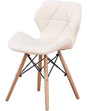 Calyvina Sillas de Comedor sillas de Cuero para Comedor café sillas con Patas de Madera Maciza