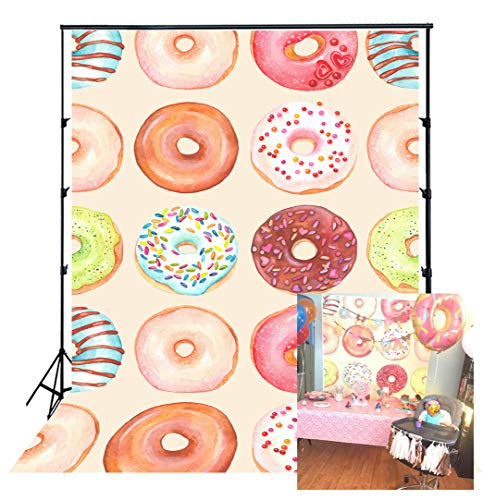 (HUAYI HUAYI Photography Backdrops Photo Background Newborn Photography Props Baby shower PhotoCall Birthday Photo Booth Props Party Banner decorations Donut Icon Wall 5x7ft Xt-5644)