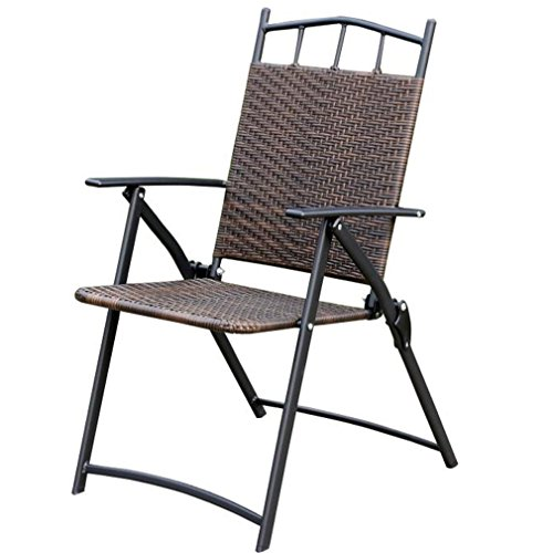 Heruai Natural Rattan Folding Chairs Willow Backrest Armchair Portable Garden Balcony Outdoor Wrought Iron Rattan Chair Folding Chair Pure Hand Wicker Chairs by Heruai
