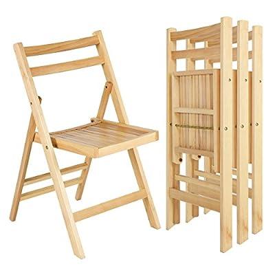 Giantex 4 Pcs Solid Wood Folding Chairs Ergonomic Slatted Seat Backrest Wedding Patio Garden Home Furniture