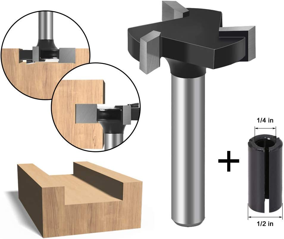 """WSOOX 1//4/"""" Shank CNC Spoilboard Surfacing Router Bit and 1pcs Router Bit Adapter Convert 1//4 to 1//2 for Engraving Machine Tool"""