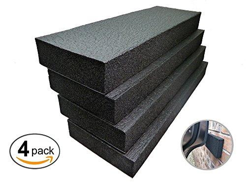 Garage Car Door Bumper Guards - High Density Door Bumper & Edge Protector, Black, Pack of 4, by Connected Essentials