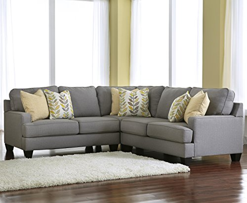 Ashley Chamberly 3-Piece Sectional Sofa Set in Alloy Finish (Couch Sets Furniture Ashley)