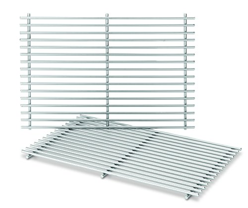 Weber-Stephen Products 7639 2pk Stainless Steel Cooking Grate (17.3 x 11.8 x 0.5) (Grates Weber Set Cooking)