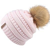 FURTALK Kids Girls Boys Winter Knit Beanie Hats Faux Fur Pom Pom Hat Bobble Ski Cap Toddler Baby Hats 1-6 Years Old