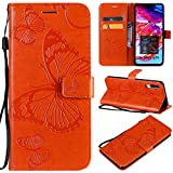 Amocase Wallet Leather Case with 2 in 1 Stylus for Samsung Galaxy A70,Premium Strap 3D Butterfly Magnetic PU Leather Stand Shockproof Card Slot Case for Samsung Galaxy A70 - Orange