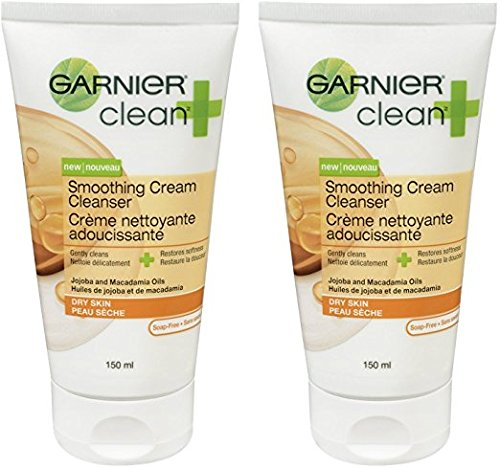 Garnier Clean+ Smoothing Cream Cleanser For Dry Skin , 5 Fluid ounces 2-Pack
