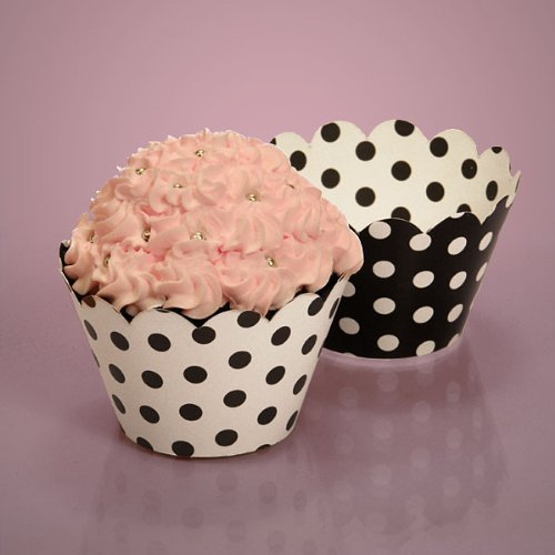 50 each by Paper Mart Bakery Boxes Cardboard Bakery Black and White Cupcake Wrappers with Polka Dots
