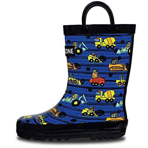 LONECONE Rain Boots with Easy-On Handles in Fun Patterns for Toddlers and Kids, Construction Monsters, 9 Toddler (Childrens Rain Boot)