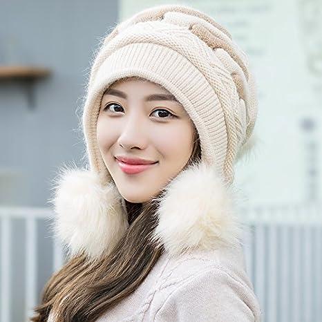 BTBTAV El otoño Invierno Hat Marea Chica de Pelo de Conejo Puede amar oído  Sombrero de Tejer Sombreros de Lana Gruesa Elegante de Invierno 001afefbd86f