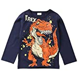 Wesracia Baby Boy Outfits Long Sleeve Dinosaur Letter Print T-Shirt Top Shirts Tee (Dark Blue, 130)