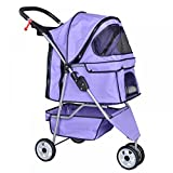 Purple Pet Cat Dog Cage 3 Wheels Stroller Travel Folding Carrier