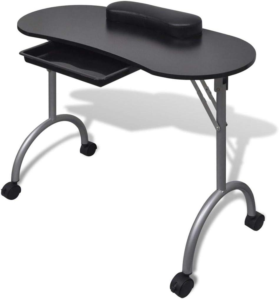 Mesa para manicura Plegable, con Aspirador, reposamuñecas y Bolsa de Transporte 90 x 37 x 68 cm Negro: Amazon.es: Belleza