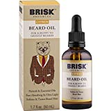 Brisk Grooming Citrus Beard Oil, Fast-absorbing Blend of Natural & Essential Oils Softens & Tames for a Beard that Looks & Feels Healthy not Greasy, 1.7 Ounce Bottle w/Dropper