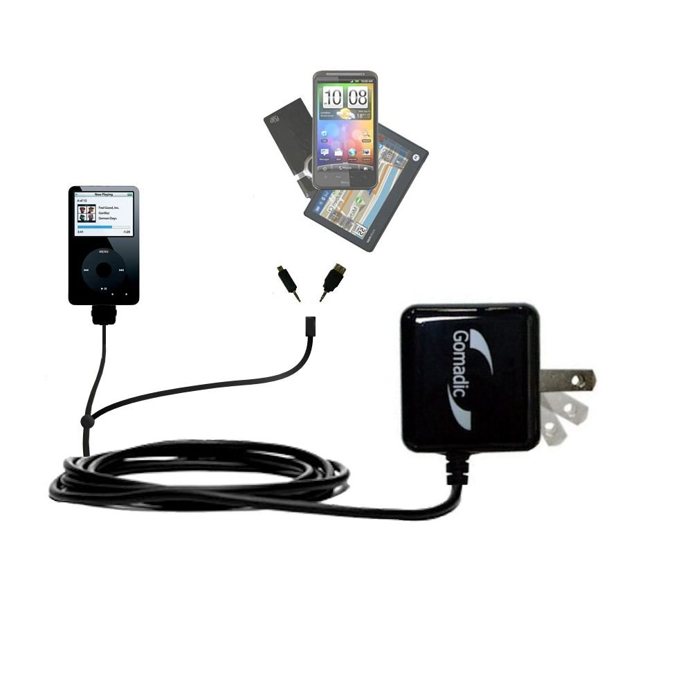 Gomadic Double Wall AC Home Charger suitable for the Apple iPod Photo (30GB) - Charge up to 2 devices at the same time with TipExchange Technology