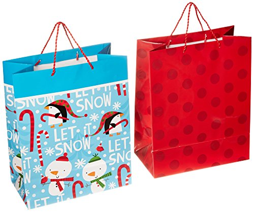 tmas Gift Bags, Penguins and Polka Dot (Pack of 2) ()