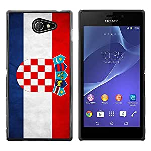 Be Good Phone Accessory // Dura Cáscara cubierta Protectora Caso Carcasa Funda de Protección para Sony Xperia M2 // National Flag Nation Country Croatia