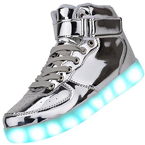 a nbsp;colori lampeggiante USB donna luci LED luci lacci 7 Padgene sneakers unisex uomo Silver coppie LED top scarpe batteria alta ZzwqAg7