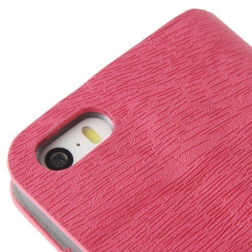 König-Shop Handy Hülle Schutz Case Cover Schale Bumper für Apple iPhone SE Wood Optik Pink